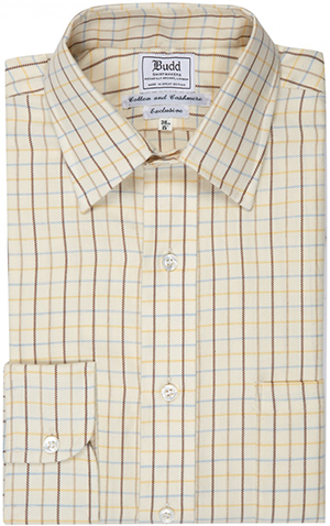 Budd Shirt Makers Blue and Yellow Cashmere and Cotton Tattersall Check Shirt: £215.