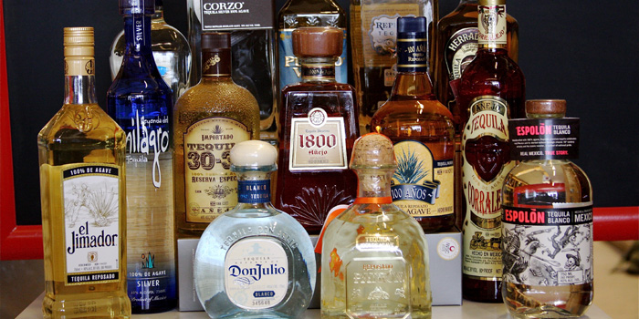 A selection of tequila bottles.