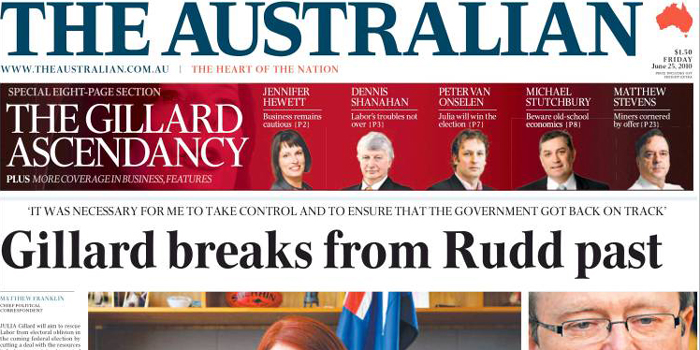 The Australian - the biggest-selling national newspaper in the country.