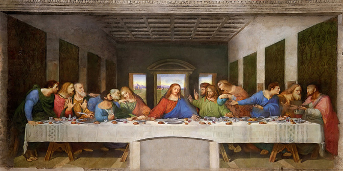 The Last Supper (1495–1498) is a late 15th century mural painting by Leonardo da Vinci (1452-1519) in the refectory of the Convent of Santa Maria della Grazie, Milan, Italy.