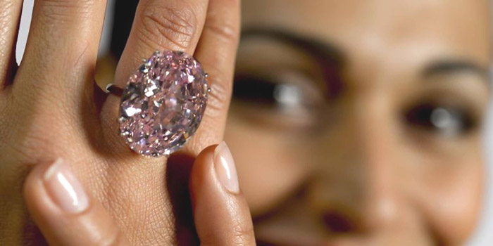 The Pink Star (weighing 59.60 carats) - The most valuable diamond to ever be offered at auction sold for US$83.2 million at Sotheby's in Geneva on November 13, 2013.