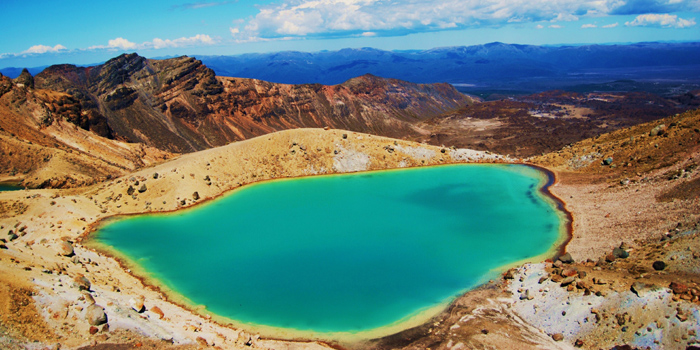 The Emerald Lake at Tongariro National Park, Ruapehu District, New Zealand.