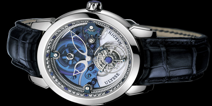 Ulysse Nardin Royal Blue Tourbillion watch. Has a platinum case and bracelet and is set with a total of 568 baguette-cut Top Wesselton diamonds (33.8 carats) and 234 baguette-cut royal blue sapphires (16.79 carats). Limited edition: 30 pieces. Price: US$1 million.