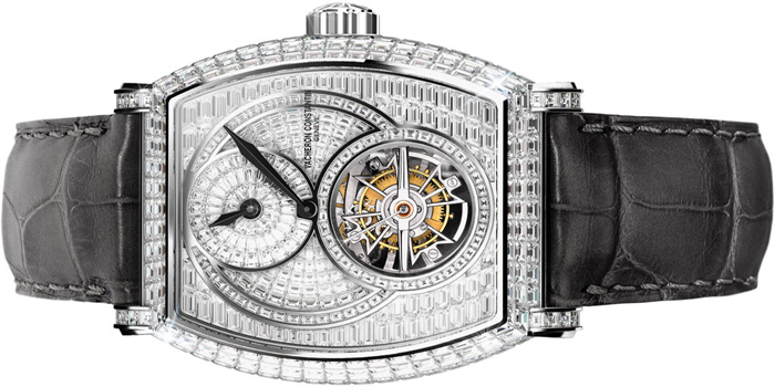 Vacheron Constantin Malte regulator tourbillon high jewellery watch. Has 263 baguette-cut diamonds in the dial and 274 baguette-cut diamonds in the case. Price: US$700,000.