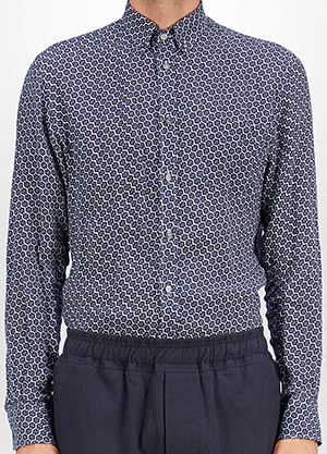 Bottega Veneta Dark Navy Geometric Flower Linen Shirt: US$830.