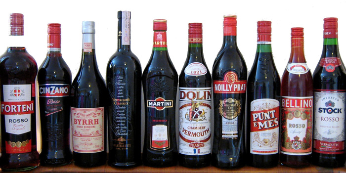 A selection of vermouth bottles.
