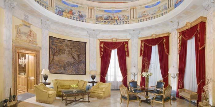 The domed living room at the Villa La Cupola Suite at The Westin Excelsior, Via Vittorio Veneto 125, 00187 Rome, Italy.