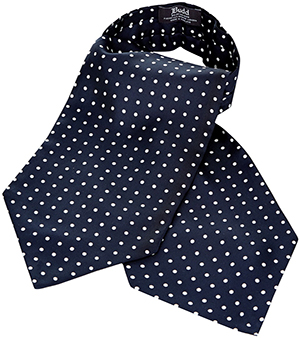 Budd Shirt Makers Medium Spot Foulard Cravat in Navy and White: £95.