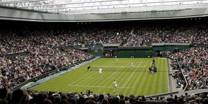 The Centre Court at All England Lawn Tennis and Croquet Club, Wimbledon, London SW19, England, U.K.