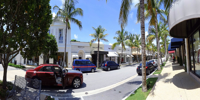 Worth Avenue stretches four blocks from Lake Worth to the Atlantic Ocean. Referred to as the Rodeo Drive of Florida.