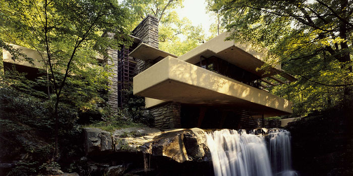 Fallingwater, 1491 Mill Run Road, Mill Run, Pennsylvania, U.S.A. Designed by American architect Frank Lloyd Wright in 1935.