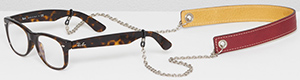 Ally Capellino Eli Leather Glasses Chain In Wine/Mustard: £50.