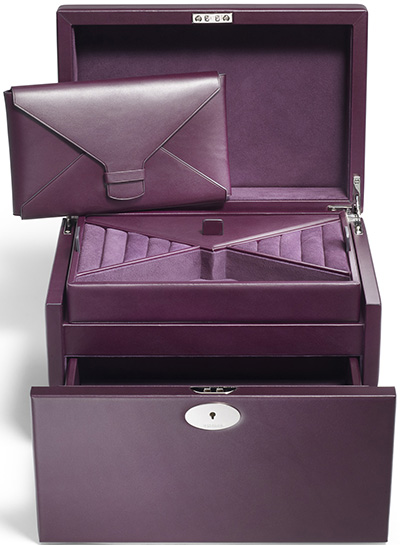 Asprey Ascot calf medium jewellery box with hallmarked sterling silver locks and fittings, and a removable jewellery envelope: US$2,850.