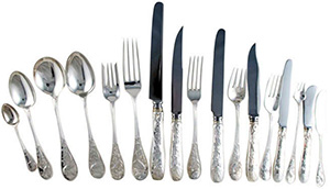 Tiffany Audubon Sterling Silver Flatware Set 135 Pieces.