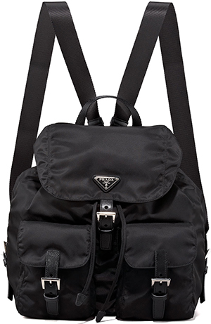 Prada Vela Large Two-Pocket Backpack, Black (Nero): US$990.