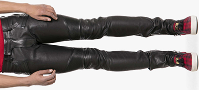 Balmain Slim-Fit Stretch-Leather Trousers: €3,120.