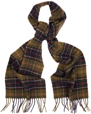 Barbour men's Tartan Lambswool Scarf.