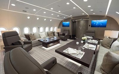 The dining area of Boeing 787.