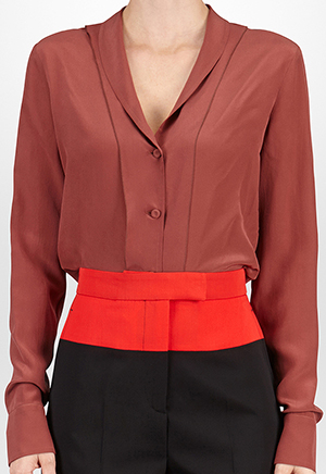 Bottega Veneta Women's Silk Shirt in Russet Crêpe de Chine: US$880.