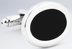Bugatchi rhodium plated cuff links inlaid with a circle of polished onyx: US$79.50.