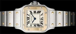 Santos de Cartier 'Galbée' watch, extra large model, automatic, yellow gold, steel.