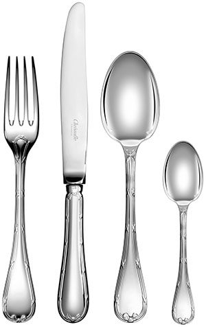 Christofle Rubans 48-Piece Silver Plated Flatware Set with Chest: US$4,600.