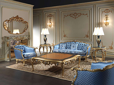 Vimercati Luxury living room Eighteenth Century carved and gilded by hand.