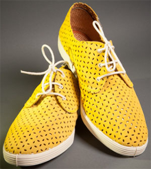 Dashing Tweeds Yellow Perforado Suede Summer Shoes: £90.