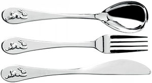 Royal Doulton Bunnykins Silver Fork Spoon & Knife, 3-Piece Set.