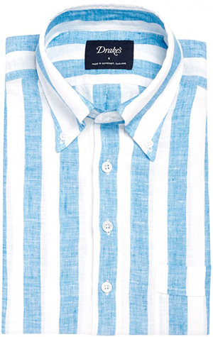 Drake's Blue/White Block Stripe Linen Popover Shirt: £175.