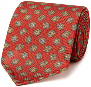 Drake's Red Diamond Printed Panama Silk Tie: £125.