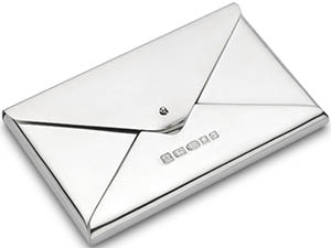 Theo Fennell Sterling Silver Envelope Style Business Card Holder.