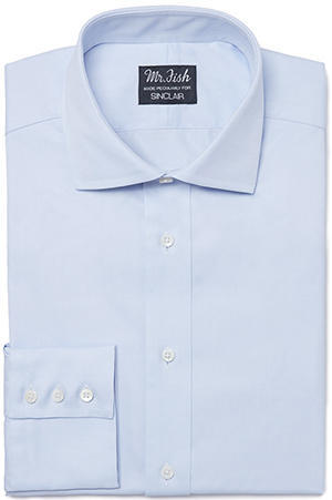 Mason & Sons Mr. Fish X Sinclair Barrel Cuff shirt in blue: £138.