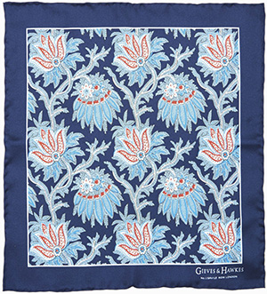 Gieves & Hawkes Navy Paisley Silk Pocket Square: £35.