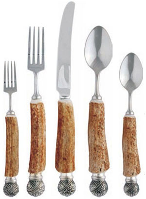 Gracious Style Vagabond House Antler Queen Crown Sterling Silver Flatware.