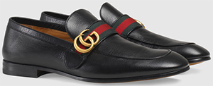 Gucci men's Leather loafer with GG web: US$730.
