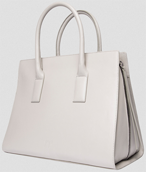 Gvyn Lev gusset tote bag in cow vachetta leather.