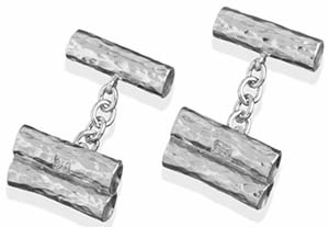 Hamilton & Inches Pilosi Sterling Silver Three Tube Cufflinks: £185.
