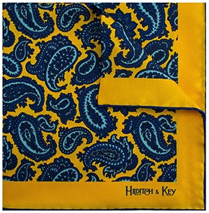 Hilditch & Key Large Paisley Gold, Navy, Blue Men's Handkerchief: £31.50.