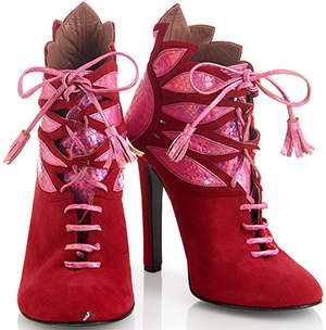 House of Holland women's SS15 'Plaster Casters' Red/ Pink Tassel Suede Boots: £195.