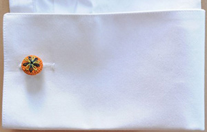 G.Inglese Sartoria Orange Crocheted cufflinks - Camomilla embroidery: €85.