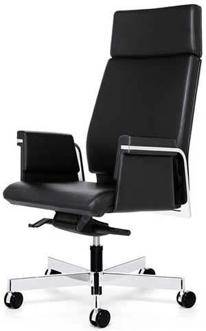 Interstuhl Axos 364A Management swivel armchair high backrest, armrests, 5 star base with castors.