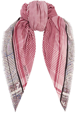 Jimmy Choo women's Indigo and Purple Palm Print Cashmere Shawl: US$345.