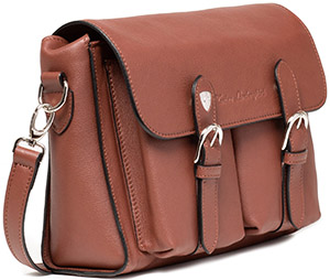 Tonino Lamborghini Ginevra Hazelnut Bag with two Pockets and Shoulder Strap: US$1,200.