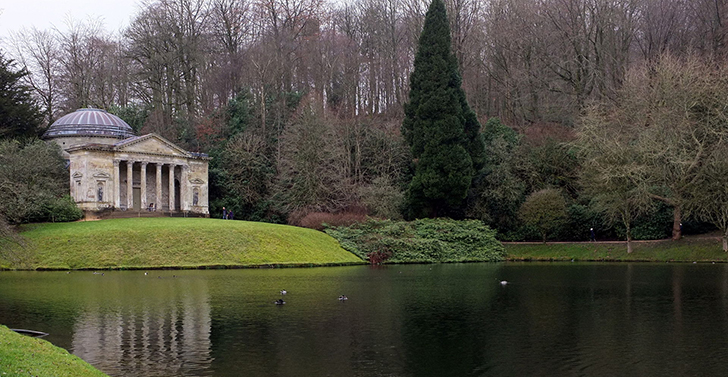 Stourhead in Wiltshire, England, designed by Henry Hoare (1705–1785), 'the first landscape gardener, who showed in a single work, genius of the highest order'.
