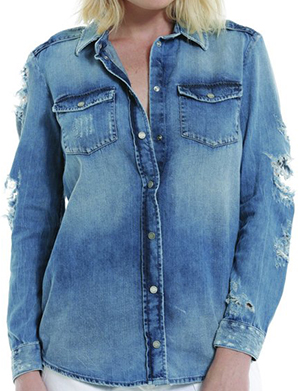 Etienne Marcel EM7335 Breeze Blue Distressed Button Up women's shirt: US$172.