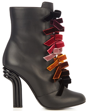 Marco De Vincenzo Velvet-bows and leather ankle boots: US$991.