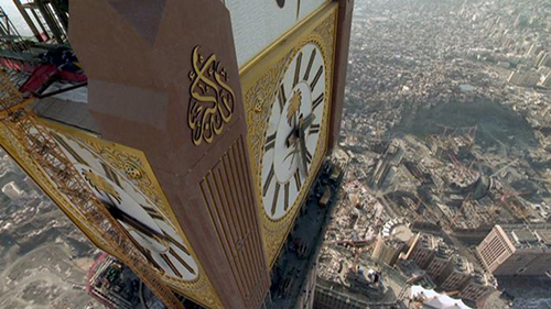 The Makkah Clock towers over the heart of the famous Grand Mosque in Mecca and ensures that pilgrims observe important prayer times.