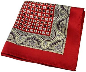 Mulberry 100% Silk Red Vintage Square Pattern Elegant Pocket Square: US$15.