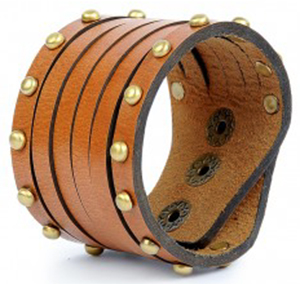 Nappa Dori men's Studded Wristband - Tan: US$26.